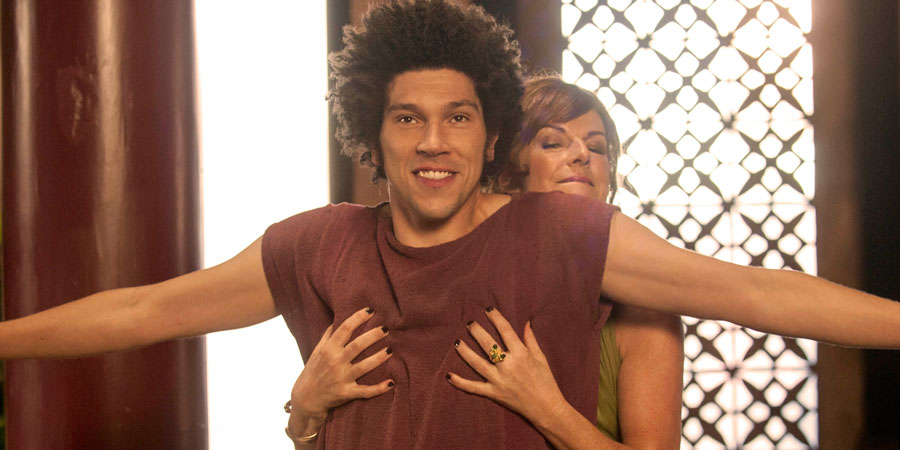 Plebs. Image shows from L to R: Stylax (Joel Fry), Flavia (Doon Mackichan). Copyright: RISE Films.