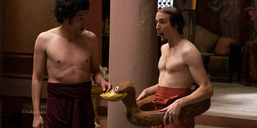 Plebs. Image shows from L to R: Stylax (Joel Fry), Aurelius (Tom Basden).