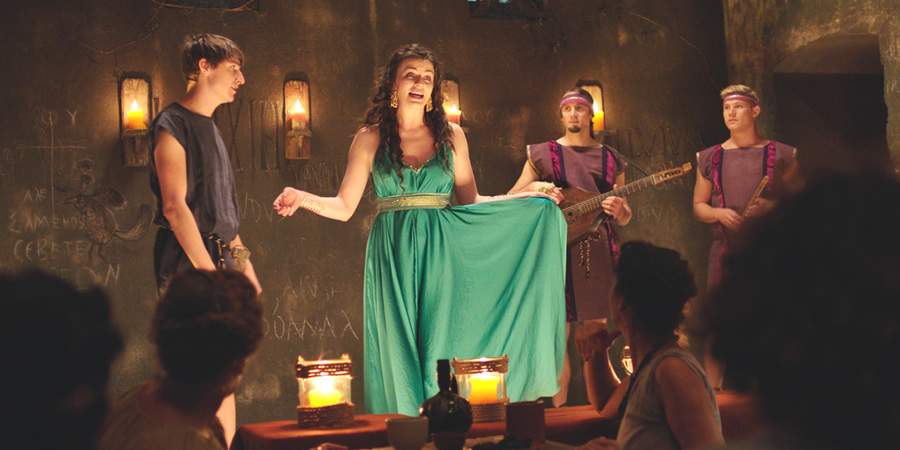 Plebs. Image shows from L to R: Marcus (Tom Rosenthal), Minerva (Aisling Bea), Aurelius (Tom Basden), Jason (Jon Pointing). Copyright: RISE Films.
