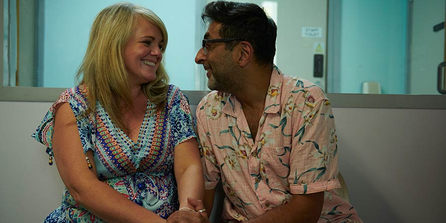 Porters. Image shows from L to R: Linda (Sally Lindsay), Muzz (Sanjeev Kohli).