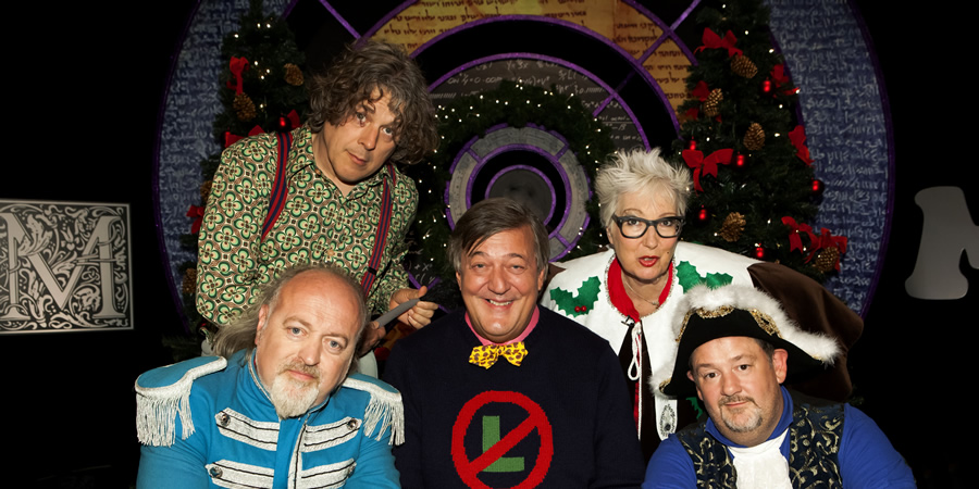 QI. Image shows from L to R: Alan Davies, Bill Bailey, Stephen Fry, Jenny Eclair, Johnny Vegas. Copyright: TalkbackThames.