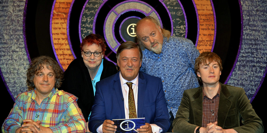 QI. Image shows from L to R: Alan Davies, Jo Brand, Stephen Fry, Bill Bailey, James Acaster. Copyright: TalkbackThames.