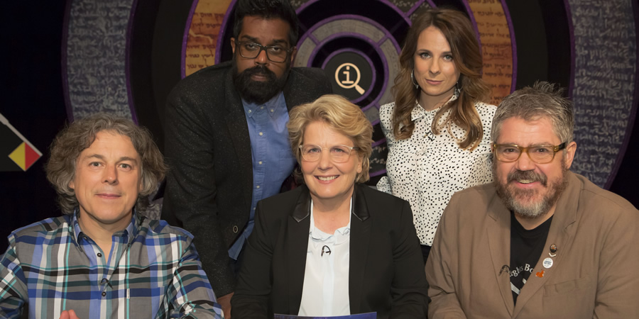 QI. Image shows from L to R: Alan Davies, Romesh Ranganathan, Sandi Toksvig, Cariad Lloyd, Phill Jupitus. Copyright: TalkbackThames.