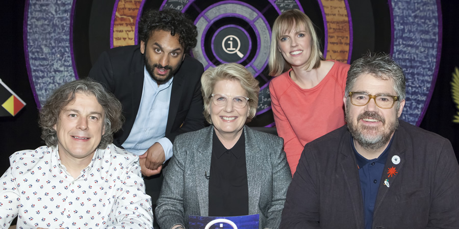 QI. Image shows from L to R: Alan Davies, Nish Kumar, Sandi Toksvig, Holly Walsh, Phill Jupitus. Copyright: TalkbackThames.