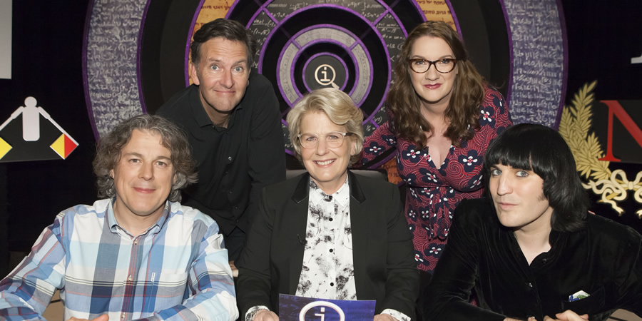 QI. Image shows from L to R: Alan Davies, Colin Lane, Sandi Toksvig, Sarah Millican, Noel Fielding. Copyright: TalkbackThames.