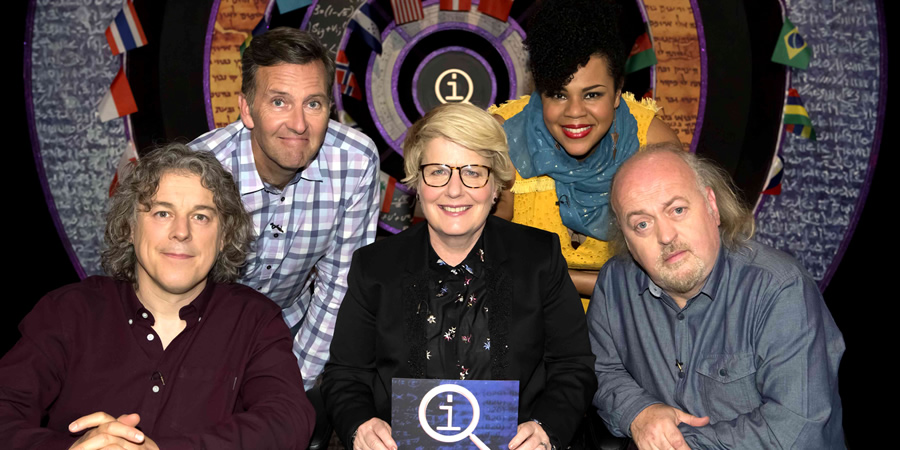 QI. Image shows from L to R: Alan Davies, Colin Lane, Sandi Toksvig, Desiree Burch, Bill Bailey. Copyright: TalkbackThames.