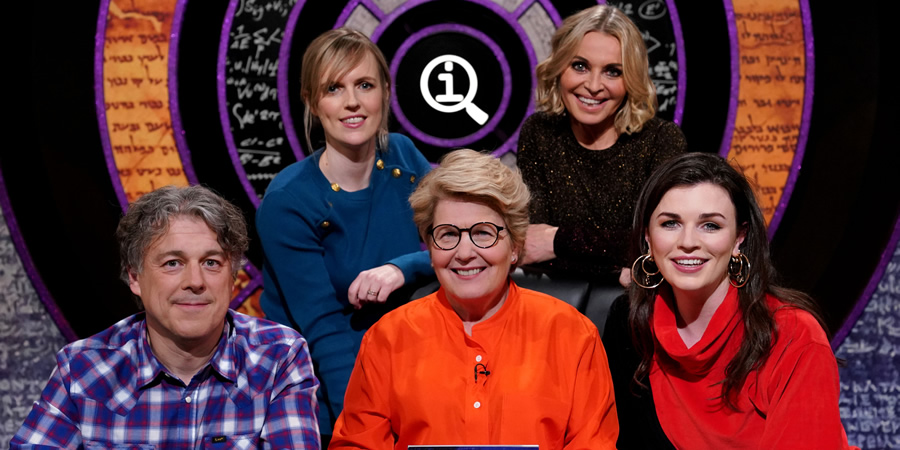 QI. Image shows from L to R: Alan Davies, Holly Walsh, Sandi Toksvig, Nikki Bedi, Aisling Bea. Copyright: TalkbackThames.