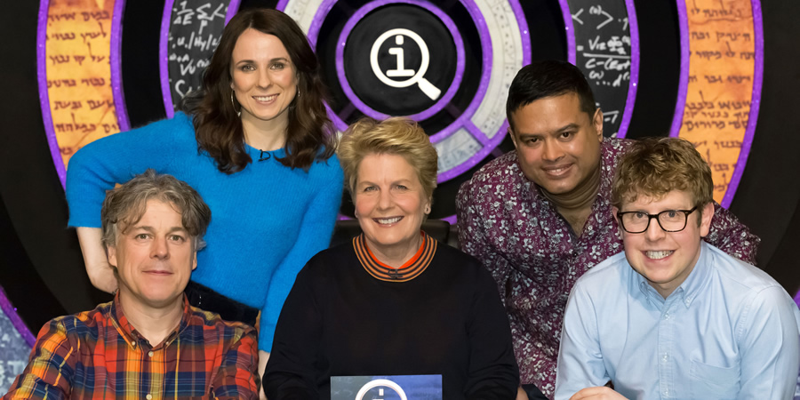QI. Image shows from L to R: Alan Davies, Cariad Lloyd, Sandi Toksvig, Paul Sinha, Josh Widdicombe. Copyright: TalkbackThames.