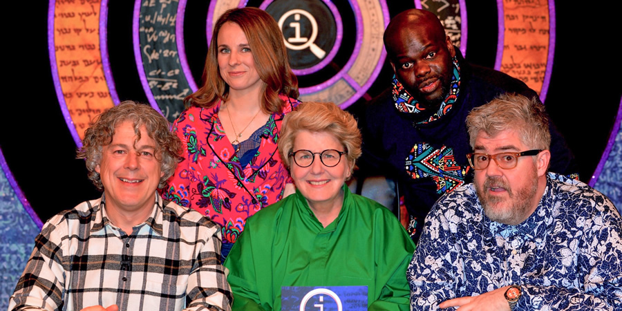 QI. Image shows from L to R: Alan Davies, Cariad Lloyd, Sandi Toksvig, Daliso Chaponda, Phill Jupitus. Copyright: TalkbackThames.