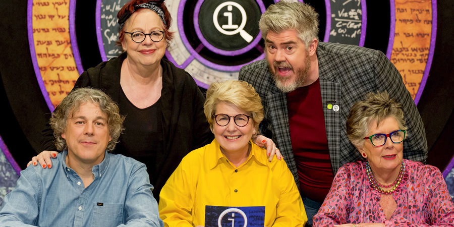 QI. Image shows from L to R: Alan Davies, Jo Brand, Sandi Toksvig, Phill Jupitus, Prue Leith.