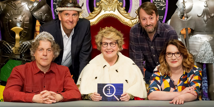 QI. Image shows from L to R: Alan Davies, Colin Lane, Sandi Toksvig, David Mitchell, Sarah Millican.