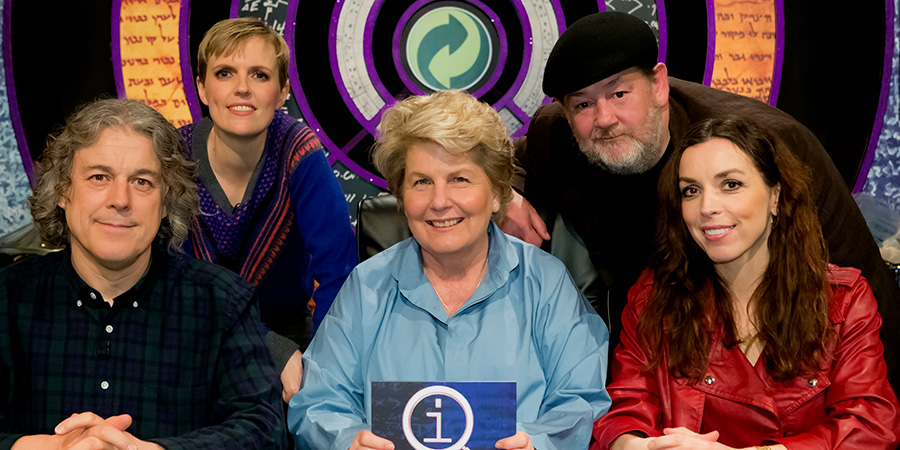 QI. Image shows from L to R: Alan Davies, Holly Walsh, Sandi Toksvig, Johnny Vegas, Bridget Christie.