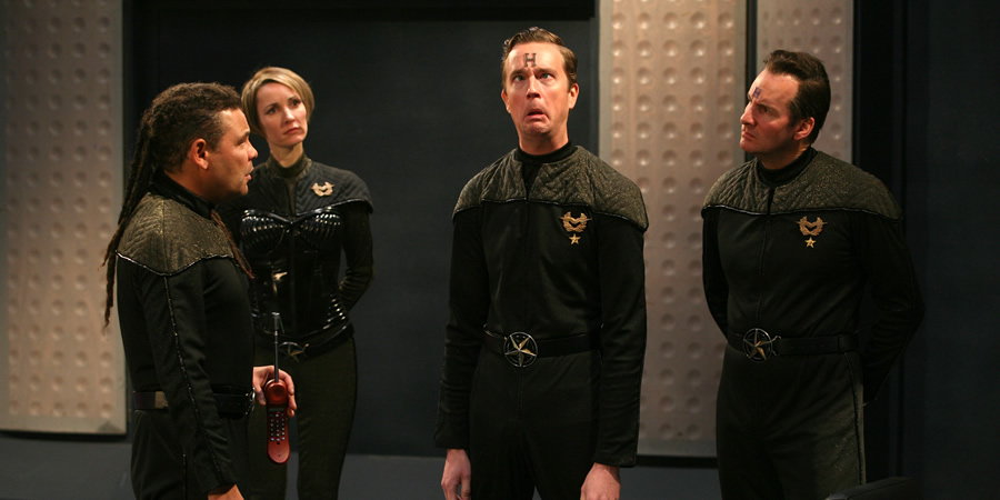 Red Dwarf. Image shows from L to R: Lister (Craig Charles), Sim Crawford (Susan Earl), Howard Rimmer (Mark Dexter), Rimmer (Chris Barrie). Copyright: UKTV.