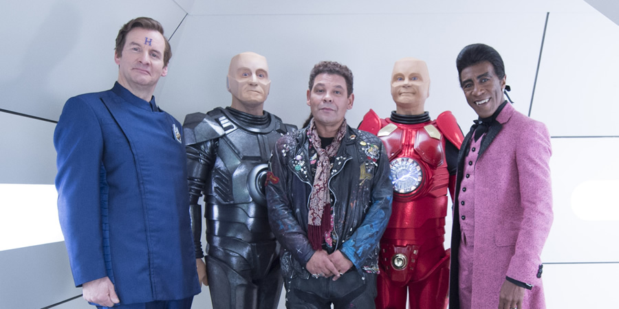 Red Dwarf. Image shows from L to R: Rimmer (Chris Barrie), Butler (Dominic Coleman), Lister (Craig Charles), Kryten (Robert Llewellyn), Cat (Danny John-Jules).
