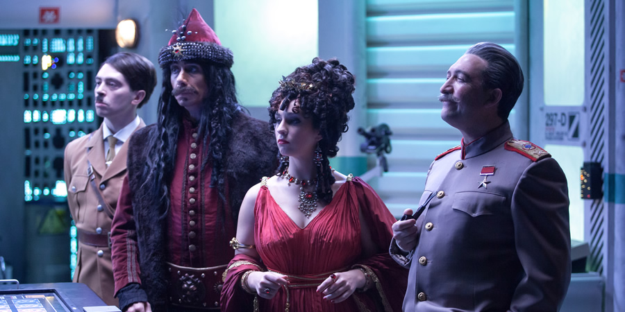 Red Dwarf. Image shows from L to R: Hitler (Ryan Gage), Vlad the Impaler (Philippe Spall), Messalina (Chloe Hawkins), Stalin (Callum Coates).