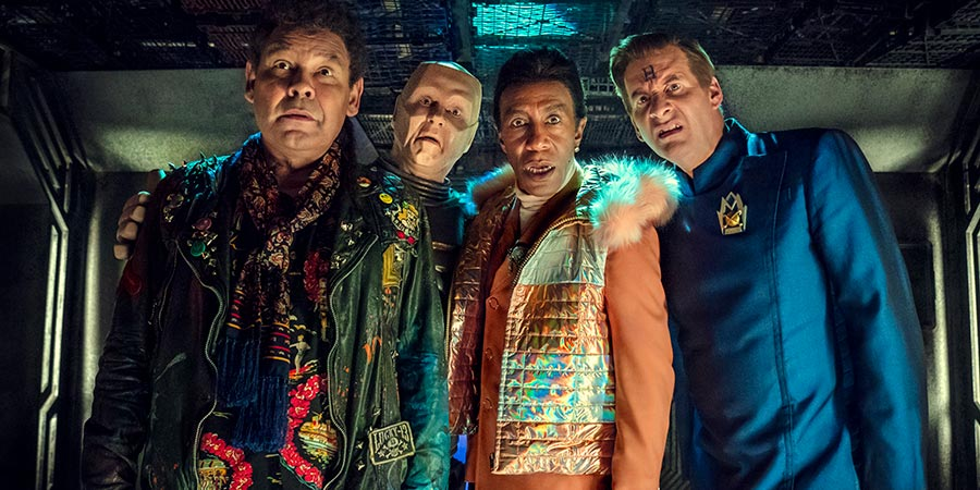 Red Dwarf. Image shows from L to R: Lister (Craig Charles), Cat (Danny John-Jules), Kryten (Robert Llewellyn), Rimmer (Chris Barrie).
