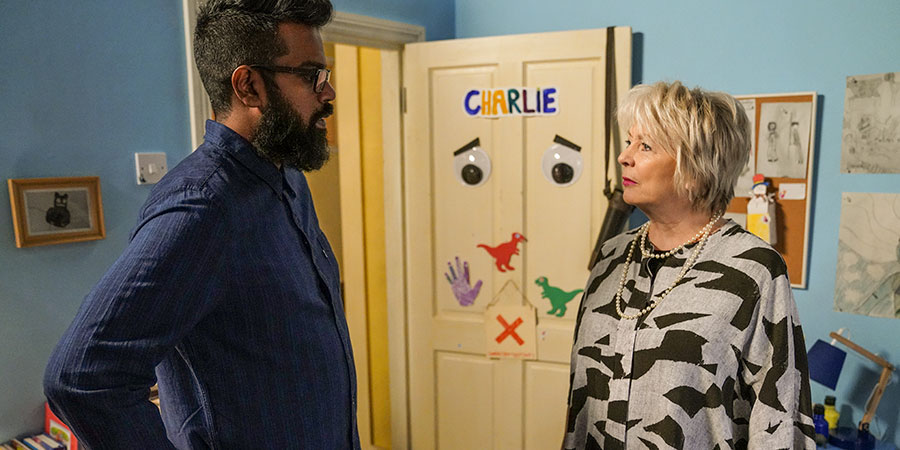 The Reluctant Landlord. Image shows from L to R: Romesh (Romesh Ranganathan), Debbie (Alison Steadman). Copyright: What Larks Productions.