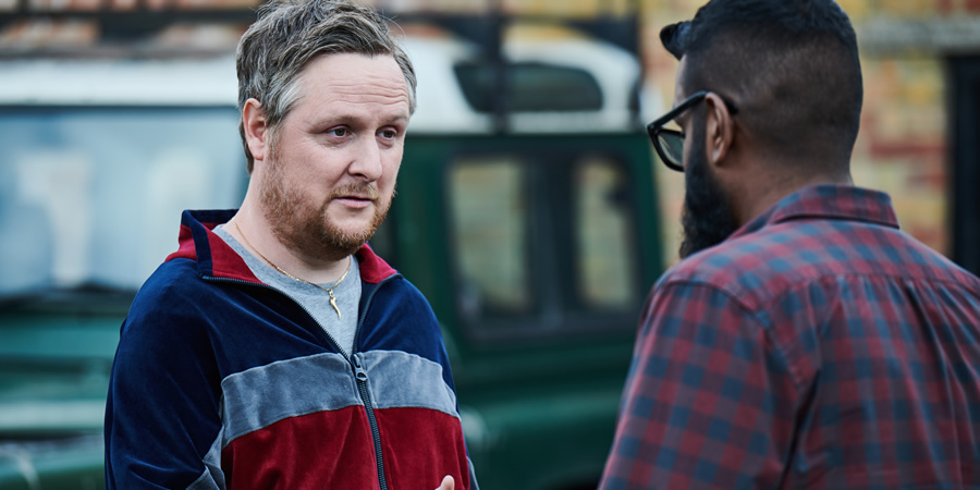 The Reluctant Landlord. Image shows from L to R: Tommy (Tim Key), Romesh (Romesh Ranganathan). Copyright: What Larks Productions.