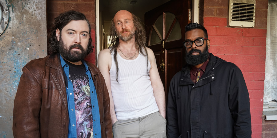 The Reluctant Landlord. Image shows from L to R: Lemon (Nick Helm), Dreadlock Jeff (Paul Kaye), Romesh (Romesh Ranganathan). Copyright: What Larks Productions.