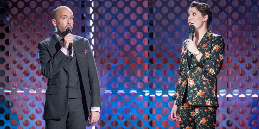 Roast Battle. Image shows from L to R: Tom Allen, Suzi Ruffell.