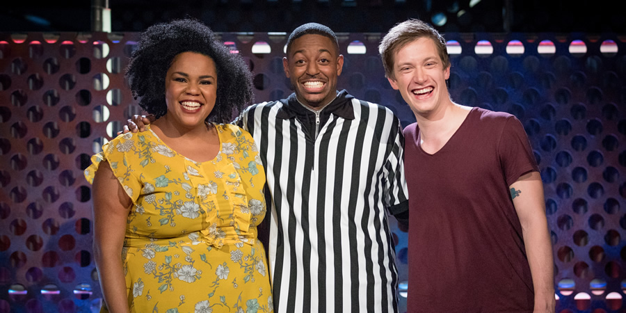 Roast Battle. Image shows from L to R: Desiree Burch, Brian Moses, Daniel Sloss.