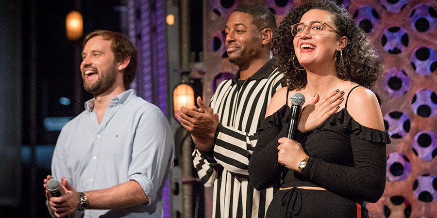 Roast Battle. Image shows from L to R: Naz Osmanoglu, Brian Moses, Rose Matafeo.