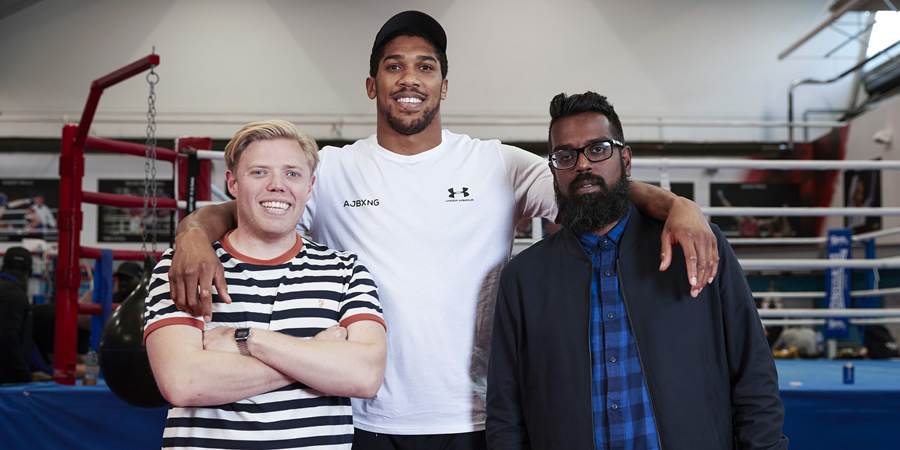 Rob And Romesh Vs. Image shows from L to R: Rob Beckett, Anthony Joshua, Romesh Ranganathan. Copyright: CPL Productions.