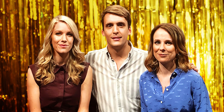 Romesh Presents.... Image shows from L to R: Rachel Parris, Graham Dickson, Cariad Lloyd.