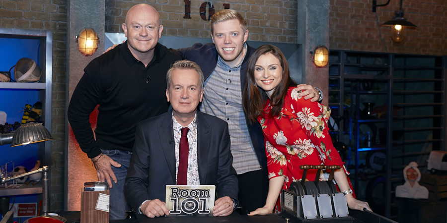 Room 101. Image shows from L to R: Ross Kemp, Frank Skinner, Rob Beckett, Sophie Ellis-Bextor. Copyright: Hat Trick Productions.