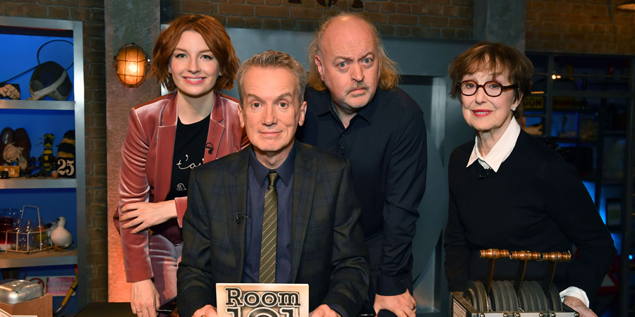 Room 101. Image shows from L to R: Alice Levine, Frank Skinner, Bill Bailey, Una Stubbs. Copyright: Hat Trick Productions.