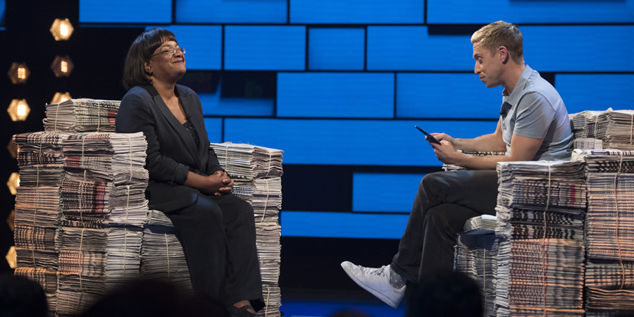 The Russell Howard Hour. Image shows from L to R: Diane Abbott, Russell Howard. Copyright: Avalon Television.