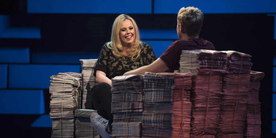 The Russell Howard Hour. Image shows from L to R: Roisin Conaty, Russell Howard. Copyright: Avalon Television.
