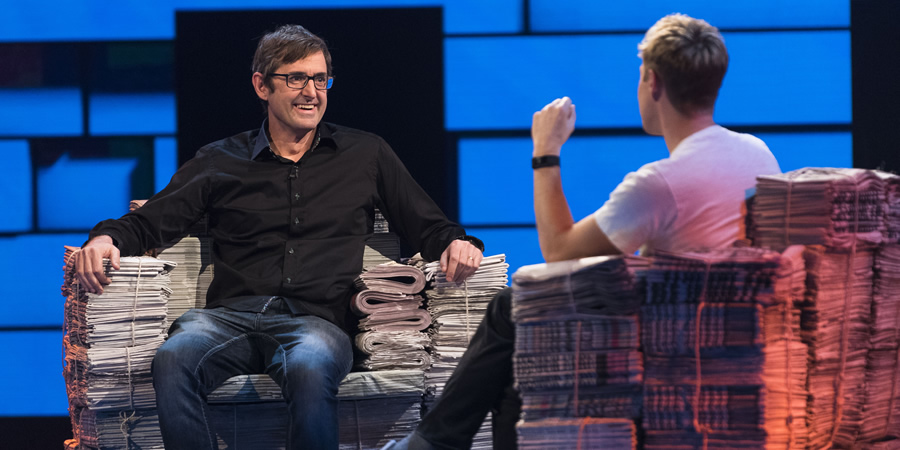 The Russell Howard Hour. Image shows from L to R: Louis Theroux, Russell Howard. Copyright: Avalon Television.