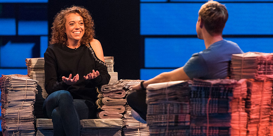 The Russell Howard Hour. Image shows from L to R: Michelle Wolf, Russell Howard. Copyright: Avalon Television.