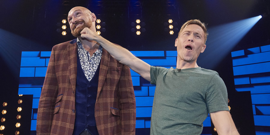 The Russell Howard Hour. Image shows from L to R: Tyson Fury, Russell Howard. Copyright: Avalon Television.