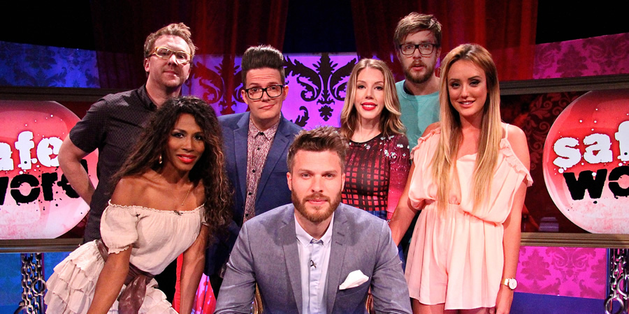 Safeword. Image shows from L to R: Jason Byrne, Sinitta, David Morgan, Rick Edwards, Katherine Ryan, Iain Stirling, Charlotte Crosby.