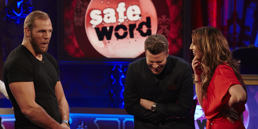 Safeword. Image shows from L to R: James Haskell, Rick Edwards, Ferne McCann.