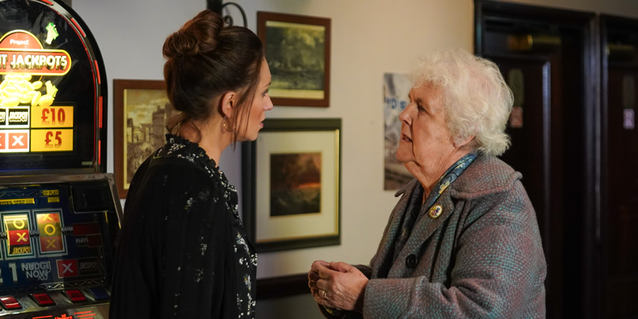 Scarborough. Image shows from L to R: Karen (Catherine Tyldesley), Marion (Stephanie Cole).