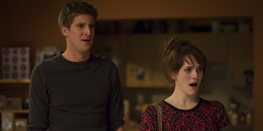 Siblings. Image shows from L to R: Dan (Tom Stourton), Hannah (Charlotte Ritchie). Copyright: Bwark Productions.