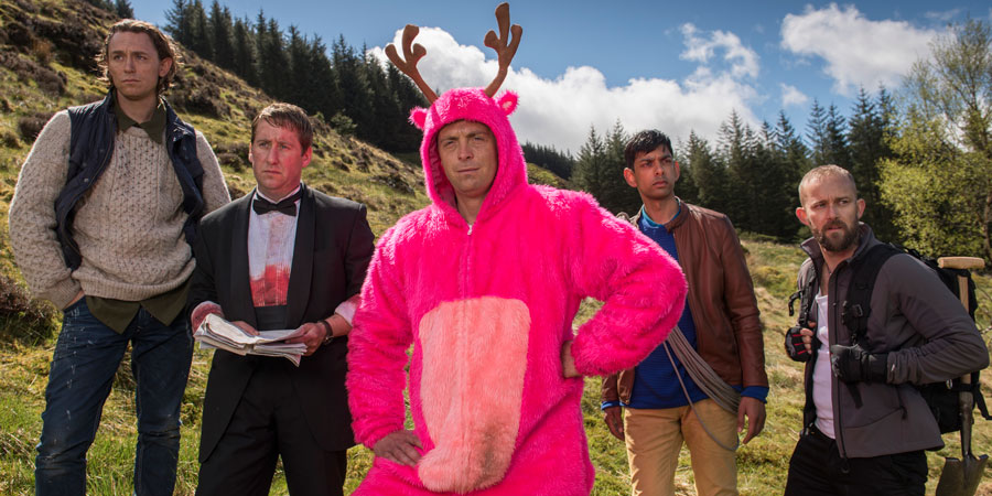 Stag. Image shows from L to R: Ledge (JJ Feild), Ian (Jim Howick), Johnners (Stephen Campbell Moore), The Mexican (Amit Shah), Christoph (Christiaan Van Vuuren). Copyright: BBC / Idiotlamp.