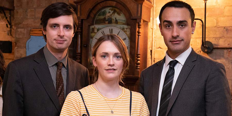 Stath Lets Flats. Image shows from L to R: Al (Alastair Roberts), Harriet (Charlotte Ritchie), Stath (Jamie Demetriou). Copyright: Roughcut Television.