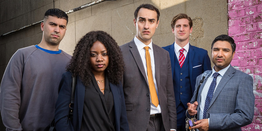 Stath Lets Flats. Image shows from L to R: Cem (David Mumeni), Nenna (Danielle Vitalis), Stath (Jamie Demetriou), Robbie (Tom Stourton), Anthony Stappan (Nick Mohammed). Copyright: Roughcut Television.