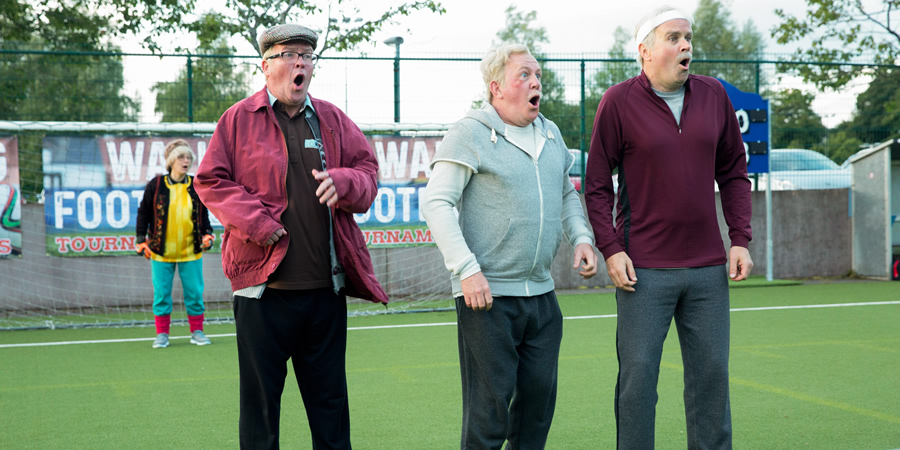 Still Game. Image shows from L to R: Isa Drennan (Jane McCarry), Winston Ingram (Paul Riley), Jack Jarvis (Ford Kiernan), Victor McDade (Greg Hemphill).