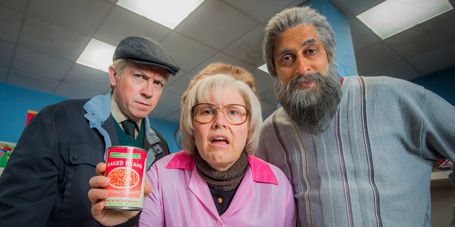 Still Game. Image shows from L to R: Tam Mullen (Mark Cox), Isa Drennan (Jane McCarry), Navid Harrid (Sanjeev Kohli).