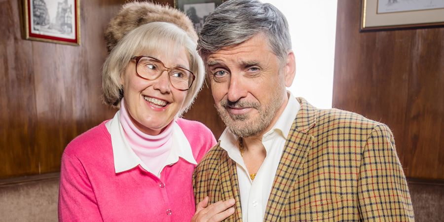 Still Game. Image shows from L to R: Isa Drennan (Jane McCarry), Callum Coburn (Craig Ferguson).
