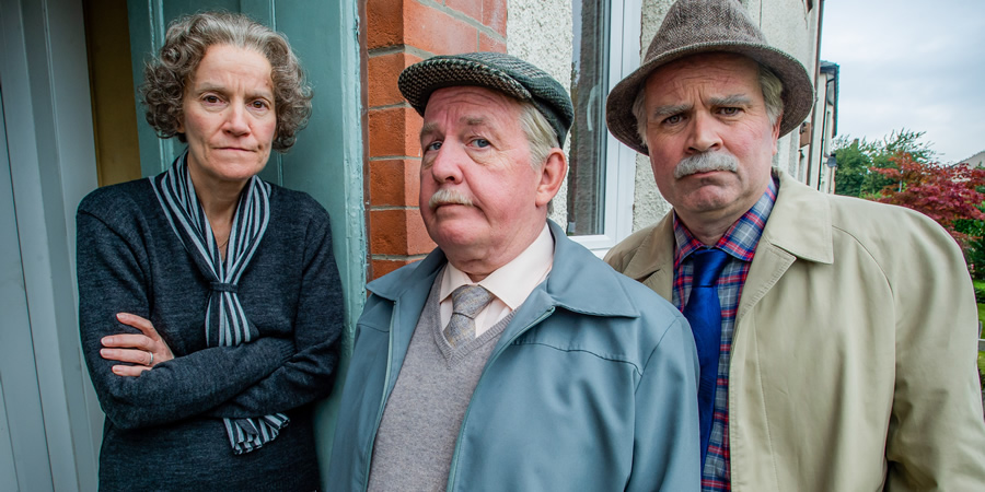 Still Game. Image shows from L to R: Frances (Kate Donnelly), Jack Jarvis (Ford Kiernan), Victor McDade (Greg Hemphill).
