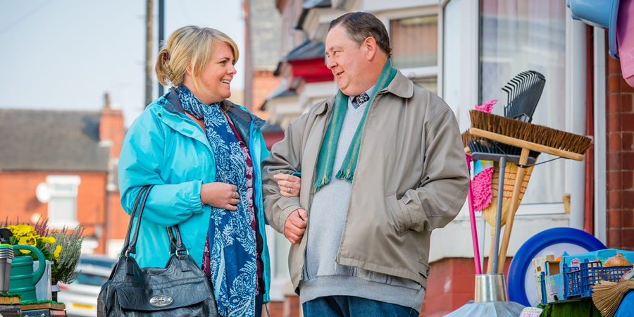 Still Open All Hours. Image shows from L to R: Kath Agnew (Sally Lindsay), Wet Eric (Johnny Vegas). Copyright: BBC.
