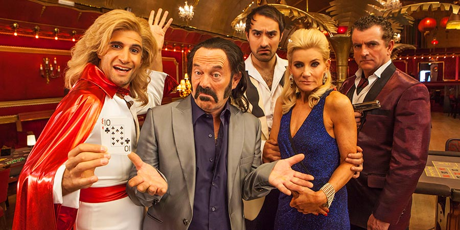 SunTrap. Image shows from L to R: Woody (Kayvan Novak), Senor Big (Keith Allen), Zorro (Jamie Demetriou), Coco (Michelle Collins), Mr De Luca (Martin Marquez). Copyright: Happy Tramp Productions.