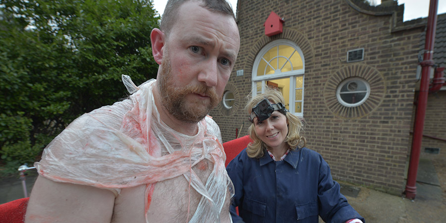 Taskmaster. Image shows from L to R: Alex Horne, Sally Phillips. Copyright: Avalon Television.