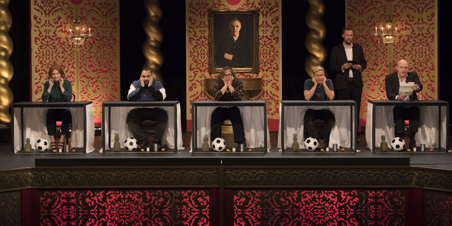 Taskmaster. Image shows from L to R: Alice Levine, Asim Chaudhry, Liza Tarbuck, Russell Howard, Alex Horne, Tim Vine. Copyright: Avalon Television.
